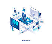 Real estate isometric landing page. Concept of housing, residential construction and engineering with tiny people working at digital screens around buildings or skyscrapers.