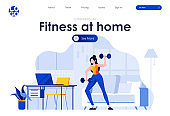 Fitness at home flat landing page design. Girl exercising with dumbbells at home scene with header.