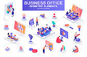Business office bundle of isometric elements. Business analytics, project presentation, company teamwork, managers working isolated icons. Isometric vector illustration kit