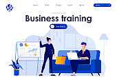 Business training flat landing page design. Business coach making presentation near whiteboard scene with header.
