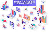 Data analysis bundle of isometric elements. Growing chart, business infographics, research tools, analytic data, financial index isolated icons. Isometric vector illustration kit