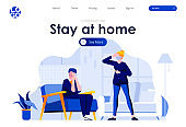 Stay at home flat landing page design. Sick man with cough, woman with fever holding thermometer scene with header.