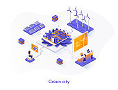 Green city isometric web banner. Alternative power generation isometry concept. Solar battery and wind turbine 3d scene, green energy technology flat design