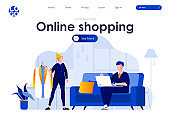 Online shopping flat landing page design. Young couple choosing and buying clothes in online store at home scene with header.