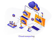 Cloud computing isometric web banner. Hosting platform isometry concept. Big data processing service 3d scene, cloud database administration flat design