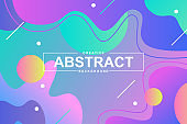 Trendy design with dynamic liquid shapes. Colorful fluid style background for landing page, graphic presentation. Vivid composition with gradients, wavy pattern with header