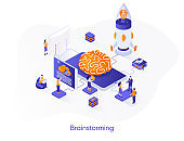 Brainstorming isometric web banner. Innovative idea generation isometry concept. Teamwork creativity and collaboration 3d scene, project launch flat design