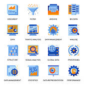 Data analysis icons set in flat style. Traffic and signal analysis, big data and database, data structure and representation, filter and optimization signs.