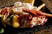 Plate with prosciutto