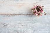 Flower wreath on vintage background