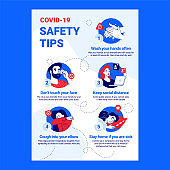 Coronavirus Safety Tips. Modern Blue Color and Lines Icons. COVID-19