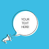 Megaphone with speech bubble. Loudspeaker with circle for text. Banner for business, marketing, text and advertising.