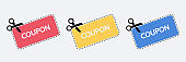 Coupon vector icon set. Vector Discount Coupons icons. Vector Illustration of a cut out coupon shape with scissors.
