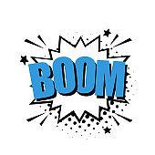 Boom comic text speech bubble, bomb. Color pop art style sound effect.