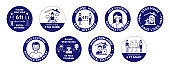 COVID-19 labels in blue color. Safety recommendations for stop infection
