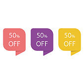 Stickers Discount of special offers. Tag sale with the price is 50