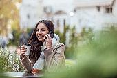 Female using smart phone, modern technology.