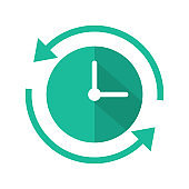 Clock with arrow flat vector icon. Passage of time vector illustration.