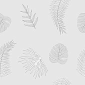 Vector seamless pattern tropical leaves in gray color on white background.