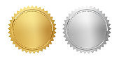 Golden and silver stamps isolated on white background. Luxury seals. Vector design elements.