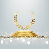Golden award round podium with laurel wreath, shiny glitter and sparkles isolated on light background. Vector realistic illustration of symbol of victory, achievement of success, rewarding of winner.