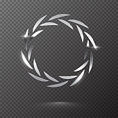 Silver shiny round laurel wreath isolated on transparent background. Vector design element.