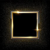 Golden metal square frames with sparkles background. Shining abstract object. Yellow shiny lines. Modern futuristic graphic vector illustration. Flares glowing effect