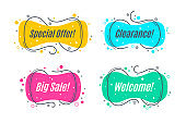 Flat linear promotion banner shapes, price tag