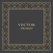 Gold decorative frame in art deco style.