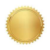 Golden stamp isolated on white background. Luxury seal. Vector design element.