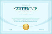 Certificate of appreciation color vector template. Diploma layout with text space. Luxury graduation document with golden seal. Business and management course. University, college achievement award.