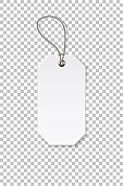 Blank white rectangular paper price tag isolated on transparent background