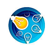 Bulb light idea in paper craft style. Origami bright Electric bulb for creativity, startup, brainstorming, business. Blue layered circle background.
