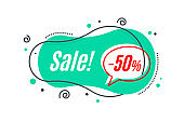 Flat linear promotion banner shape, price tag, sticker, badge.