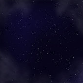 Night sky with stars and nebula realistic square backdrop