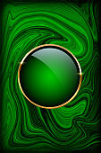 Golden ring on green malachite background. Vector luxury design template.