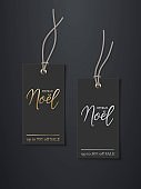 Black price French Christmas discount tag mockup templates. Rectangle sale cards with strings for clothes with gold Joyeux Noel text on black background vector illustration. Realistic design