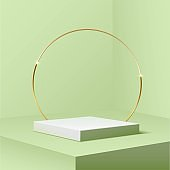White square podium with golden ring standing on green pastel background. 3d pedestal for product vector illustration. Gold stage with circle glowing in sparkles. Abstract realistic decoration