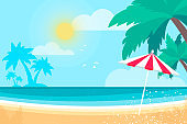Parasol under the palm tree on Seashore. Time to travel. Tropical summer holidays. Seaside landscape. Flat.