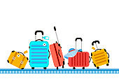 Suitcases on airport luggage conveyor belt. Travel bag. Summer time. Holidays. Vacation trip. Rest trip. Luggage band on the airport.