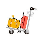 Suitcases on airport luggage trolley. Travel bag. Summer time. Holidays. Vacation trip. Rest.