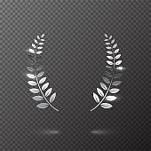 Silver shiny laurel wreath isolated on transparent background. Vector design element.