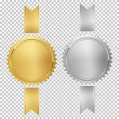 Golden and silver stamps with vertical ribbons isolated on white background. Luxury chrome seals. Vector design elements.