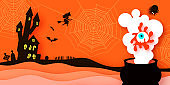 Happy Halloween Banner. Witch Silhouette witch flying on broomstick. Mystical night with bat, web, spiders, graveyard. Witch Cauldron with magic eye. Paper craft art. Space for text.