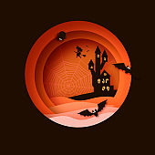 Happy Halloween. Witch Silhouette witch flying on broomstick. Mystical night with bat, web, spiders. Circle frame. Space for text.
