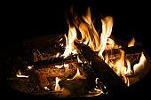 Burning campfire at night