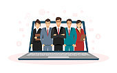 Group of Business consultant standing on laptop in wireless technology online service concept