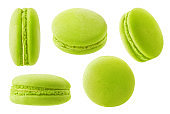 Isolated pistachio or green tea macaroon at different angles