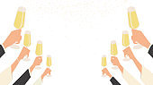 people hand raise champagne glasses to celebrating party in flat icon design on white colour background