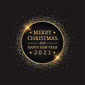 Golden happy new year 2021 in circle with burst glitter on black colour background